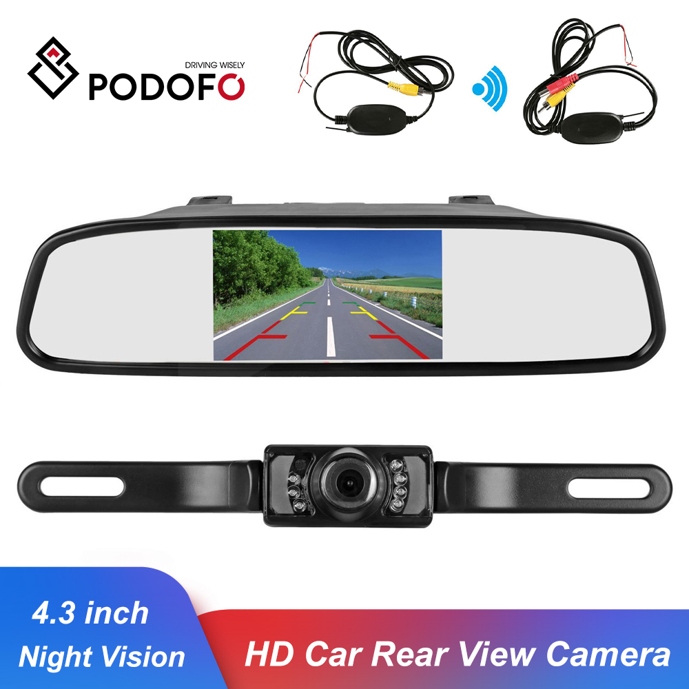 "Podofo Wireless Reverse Car Rear View Camera HD Video Parking LED Night Vision CCD Waterproof + 4.3"" TFT Rearview Mirror Monitor