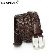 LA SPEZIA Braided Leather Belt for Women Genuine Woven Coffee Black Army Green High Quality Ladies Jeans