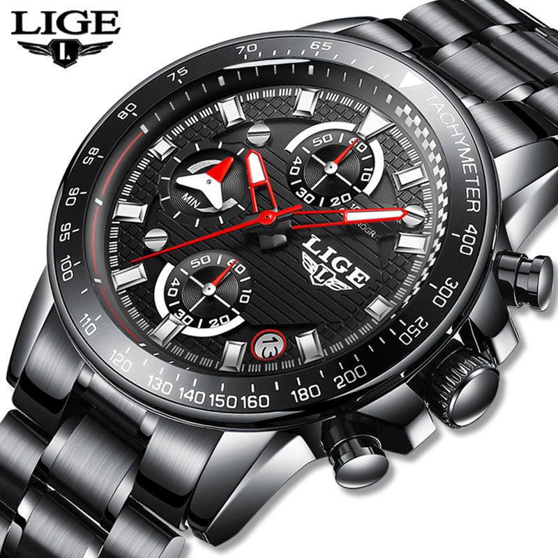 2020 LIGE Mens Watches Top Brand Luxury Fashion Business Quartz Watch Men Sports Watch Waterproof Black Clock Relogio Masculino