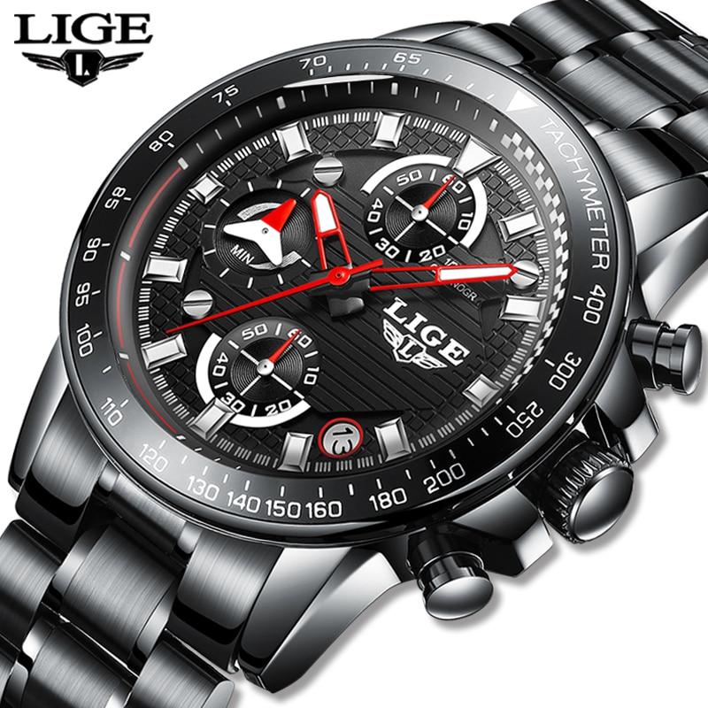 Где купить 2020 LIGE мужские часы Топ бренд Роскошные Модные Бизнес Кварцевые часы мужские спортивные часы водонепроницаемые черные часы Relogio Masculino