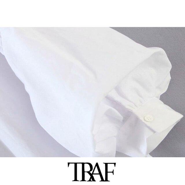 TRAF Women Fashion Button-up Loose Irregular Blouses Vintage Lantern Sleeve Side Vents Female Shirts Blusas Chic Tops 5