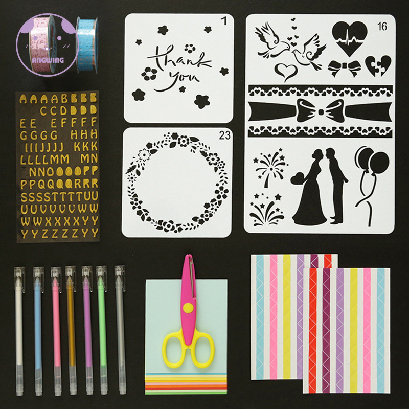 1Set DIY Photo Album Scrapbook Tool Kit Self Adhesive Stencil Pattern Hand Drawing Plastic Scrapbook Stencil Tool For Kis/Adults image