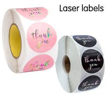 500pcs laser thank you stickers for gift package sealing pink and black labels sticker round adhesive stationery sticker