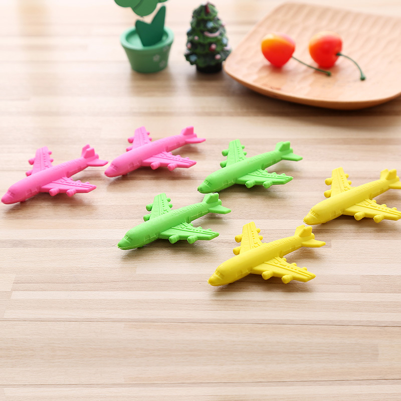 P179 Creative Airplane Modeling Rubber Eraser Cute Cartoon Safe Rubber Eraser Children Students Learning Office Stationery