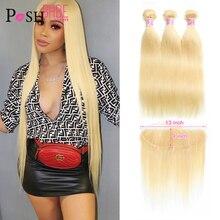 613 paket Frontal bal sarışın renkli ile 13x6 dantel Frontal düz insan saçı uzantıları 2 3 4 brezilyalı saç demetleri