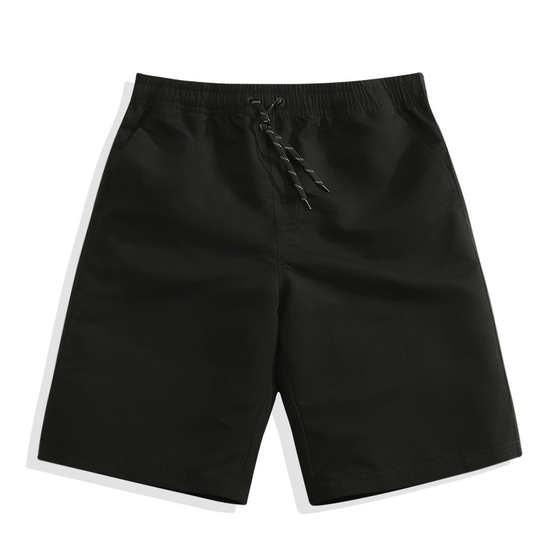 Fitness Game Solid Color Beach Shorts Men's Seaside Holiday Shorts Black Hot Springs Swimming Trunks Quick-Drying Loose-Fit Shor