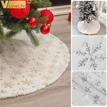 Юбки для новогодней елки, искусственный мех, белый плюш, Золотой/Серебряный Снежинка, коврик для рождественской елки, юбка для елки, украшен...