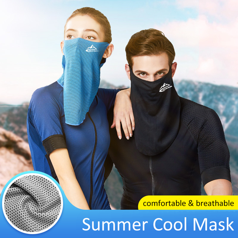 1pc Summer Ice Cool Solid Unisex Face Mask Scarf Breathable Soft Adult Mouth Mask Outdoor Sports Running Cycling Scarf Face Mask