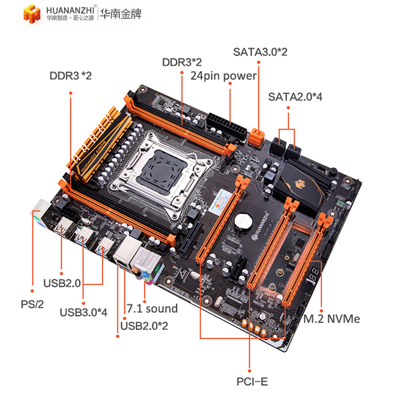 Image 3 - Famous brand HUANANZHI deluxe X79 motherboard with M.2 slot CPU Intel Xeon E5 1650 V2 with cooler RAM 32G(4*8G) 1600 REG ECC-in Motherboards from Computer & Office