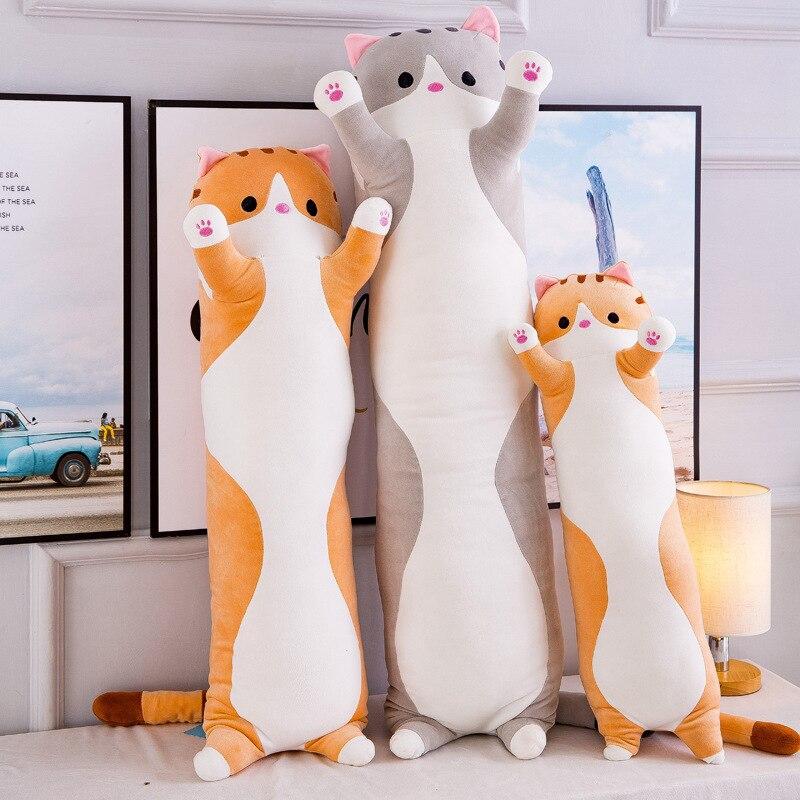 Juguetes de felpa con forma de gato grande, bonitos y creativos juguetes largos suaves para oficina, almuerzo, descanso, siesta, almohada, cojín, regalo de peluche para niños