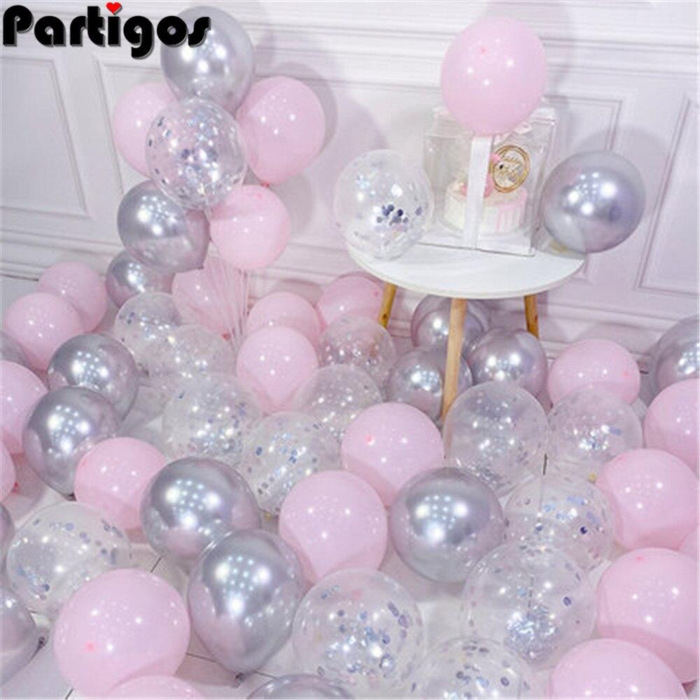 20pcs Pink Silver Confetti balloons Set Chrome metallic ballon Birthday Party Wedding Decoration Wedding Anniversary globals