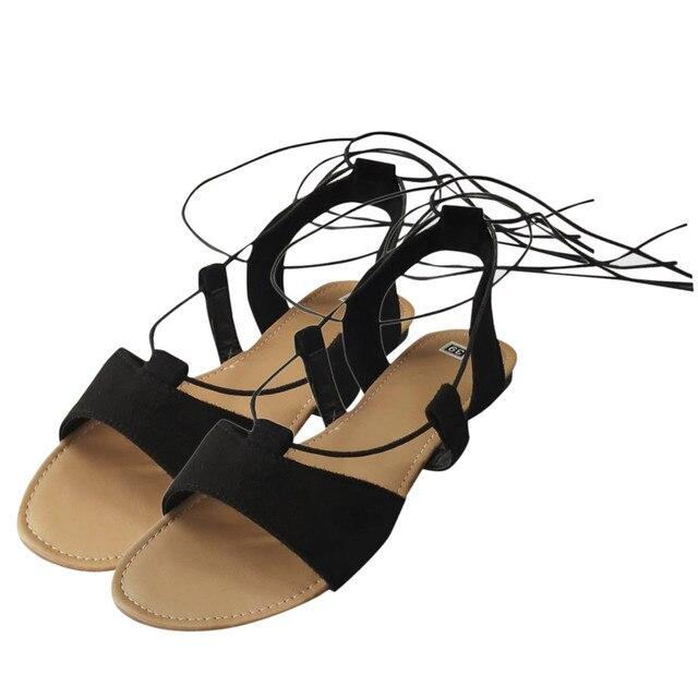 Sandals Women Vintage Gladiator Shoes Flat Sandals Cross Lace-up Beach Flip Flops Women Shoes Sandals Chaussures Femme Plus Size 4
