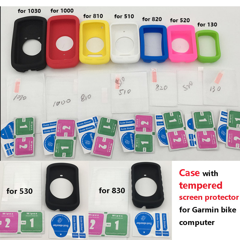 Generic skin Case w Tempered Screen Protector film for Garmin <font><b>GPS</b></font> <font><b>bike</b></font> <font><b>Computer</b></font> garmin edge 130 510 520 plus 530 830 820 1000 image