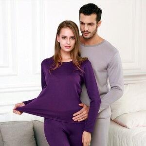 Image 2 - Perfering 2/Pcs Fluwelen Dikke Thermisch Ondergoed Set Voor Mannen Vrouw Warme Gelaagde Kleding Pyjama Set Thermische Lange Onderbroek hot Dry