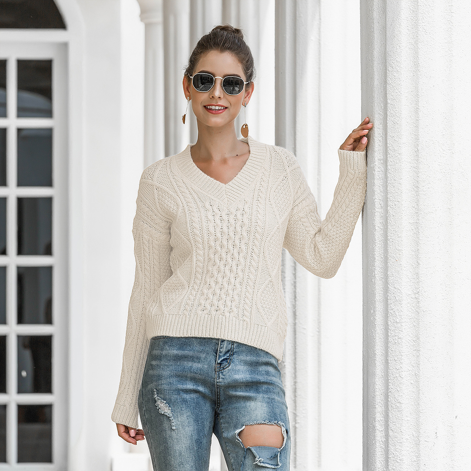 Autumn Winter Women Sweater V Neck Long Sleeve Cotton Tops Ladies Casual Loose Knitted Pullover Female Jumper 2020 Ropa Mujer