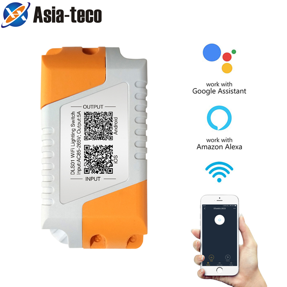 Wifi Smart Light Control Switch IOS Android APP Remote Control DC 5A AC 85-265V Compatible With Google Amazon Alexa
