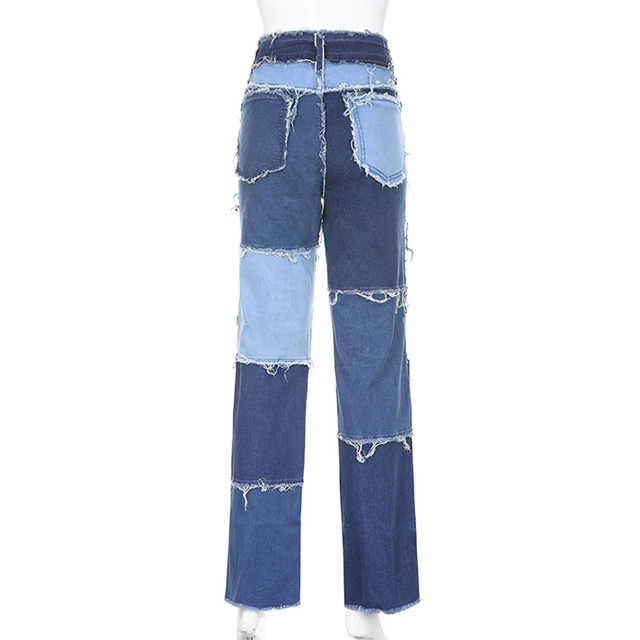 Spring Long Pants Color Jeans Women Wide Leg Pants Casual High Waist Patch Stitching Streetwear Botton Plus Size Women Pants 6