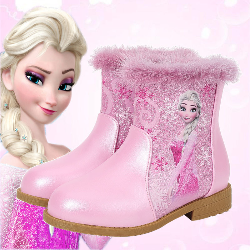 Kids Shoes Children Boots New Fashion Princess Cartoon Boots PU Leather Girls Winter Warming Ankle High Boots Baby Toddler Boots