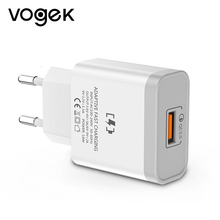 Vogek 18w Fast Charge QC 3.0 Fast Mobile Phone Charger EU Plug Wall Us