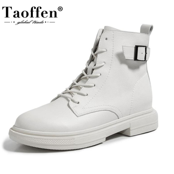 TAOFFEN New Women Real Leather Ankle Boots Thick Bottom Zipper Shoes Woman Winter Warm Fashion Cool footwear Size 34-40 - discount item  49% OFF Women's Shoes