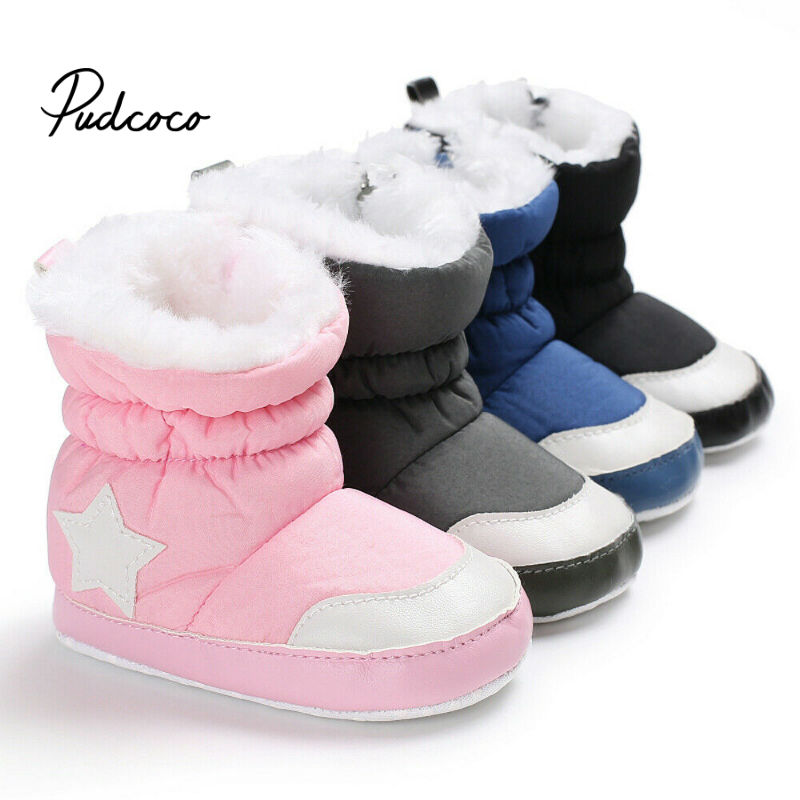 Pudcoco Winter Baby Boys Girls Shoes Winter Infants Warm Shoes Faux Fur Girls Baby Booties Leather Star Pattern Boy Baby Boots