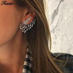 FIONTO Statement Crystal Stud Earrings For Woman Punk Rock Boucle D'oreille Vintage Jewelry Dazzling Cubic Zirconia CE0936/5