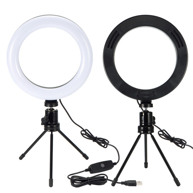 Photography LED Selfie Ring Light 26CM Dimmable Camera Phone Ring Lamp 10inch With Table Tripods For Phone Makeup Video Live