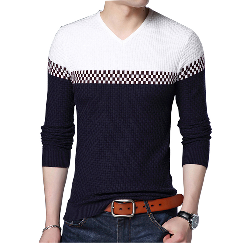 BROWON Men Brand Sweater 2021 Sweater Business Leisure Sweater Pullover V-neck Mens Fit Slim Sweaters Knitted for Man 1