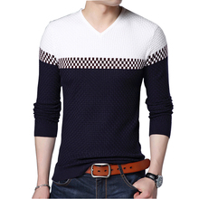 BROWON Men Brand Sweater 2020 Sweater Business Leisure Sweater Pullover V neck Mens Fit Slim Sweaters Knitted for Man