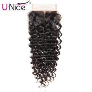 Image 3 - Unice cabelo brasileiro onda profunda fechamento do laço 10 20 Polegada parte do meio livre 4x4 laço suíço fechamento do cabelo humano remy cabelo