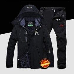 New Daiwa Plus velvet Fishing Suits Outdoor Breathable Full Sleeve Fishing Hoodie Elastic Pants Sports Set Men Fishing Clothes