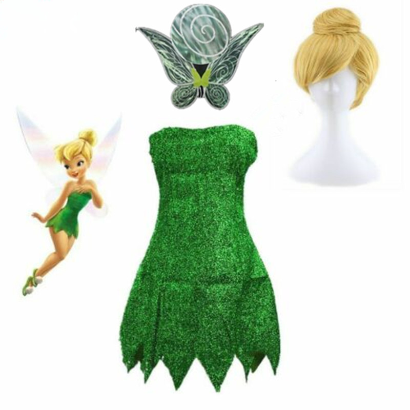 Halloween Girl Neverland Pixie Fairy Tinkerbell Wig Wings Fancy Dress Costume
