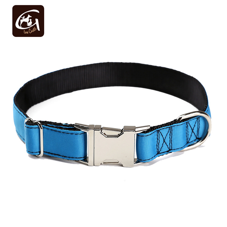 Guangzhou Pet Factory Customizable Foreign Trade Zinc Alloy Buckle Nylon Collar Currently Available Solid Color Nylon Dog Collar