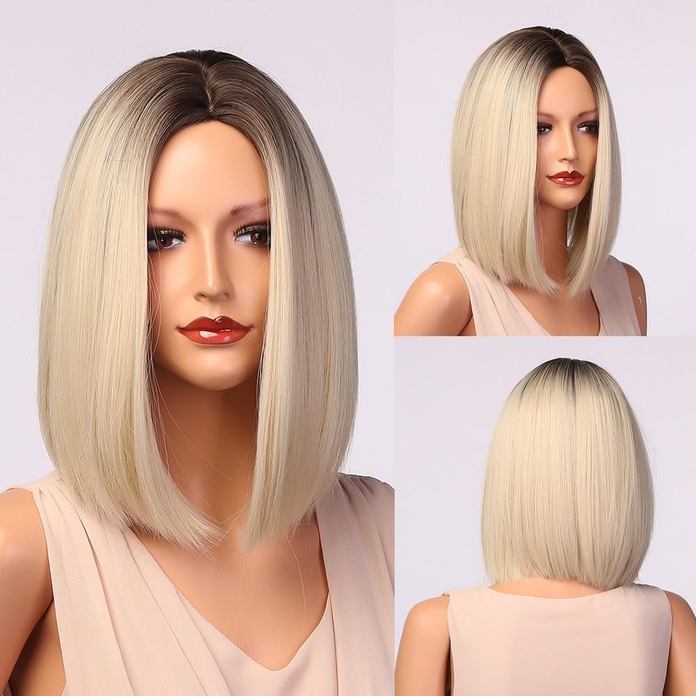 Генри MARGU средняя часть синтетические волосы парики короткие прямые светильник блонд парики для Для женщин афро Косплэй термостойкие