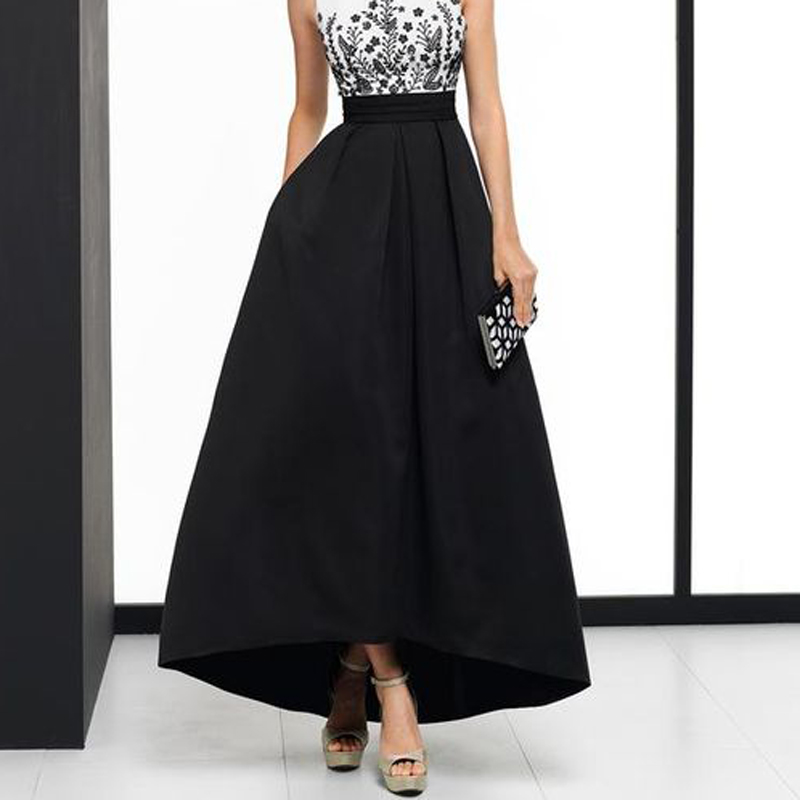Elegant Black High Low Maxi Skirt For Women High Waist A Line Satin Prom Party Gown With Pockets Fashion Long Skirt Faldas Saia