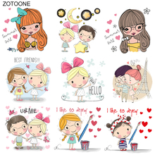 ZOTOONE Iron on Lovely Boy Girl Patch Heart Letter Stickers Patches for Clothing T-shirt Heat Transfer Diy Accessory Appliques G
