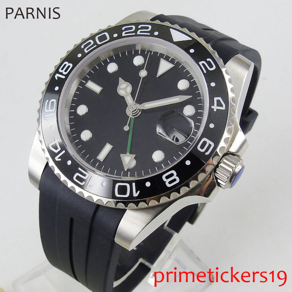 <font><b>Parnis</b></font> <font><b>40mm</b></font> GMT automatic men's <font><b>watch</b></font> sapphire glass black dial rubber strap ceramic bezel image