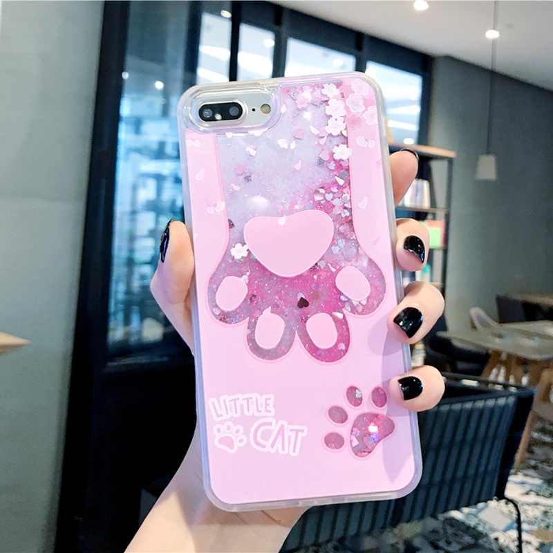 Glitter Quicksand Liquid Flowing Case for iPhone X XR XS MAX 6 6S 7 8 Plus Case Cute Pink Cat Paw Hard PC Back Cover Capa Gifts in Fitted Cases from Cellphones Telecommunications