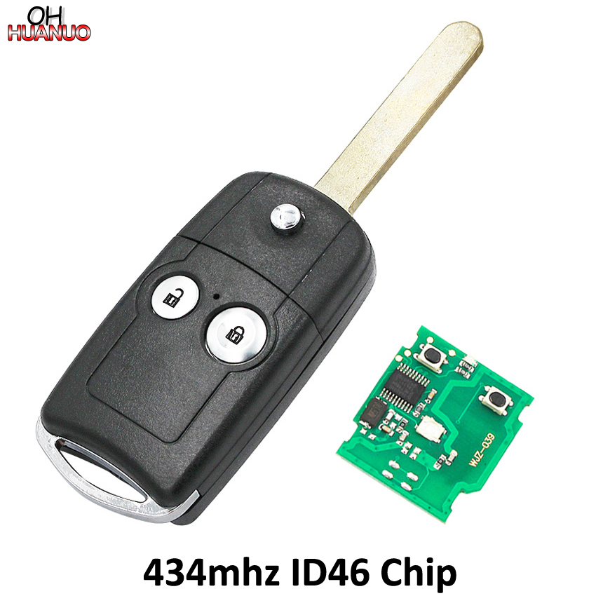 2 Button Flip Remote Key 433MHZ With ID46 Chip For Honda CRV City Accord Fit