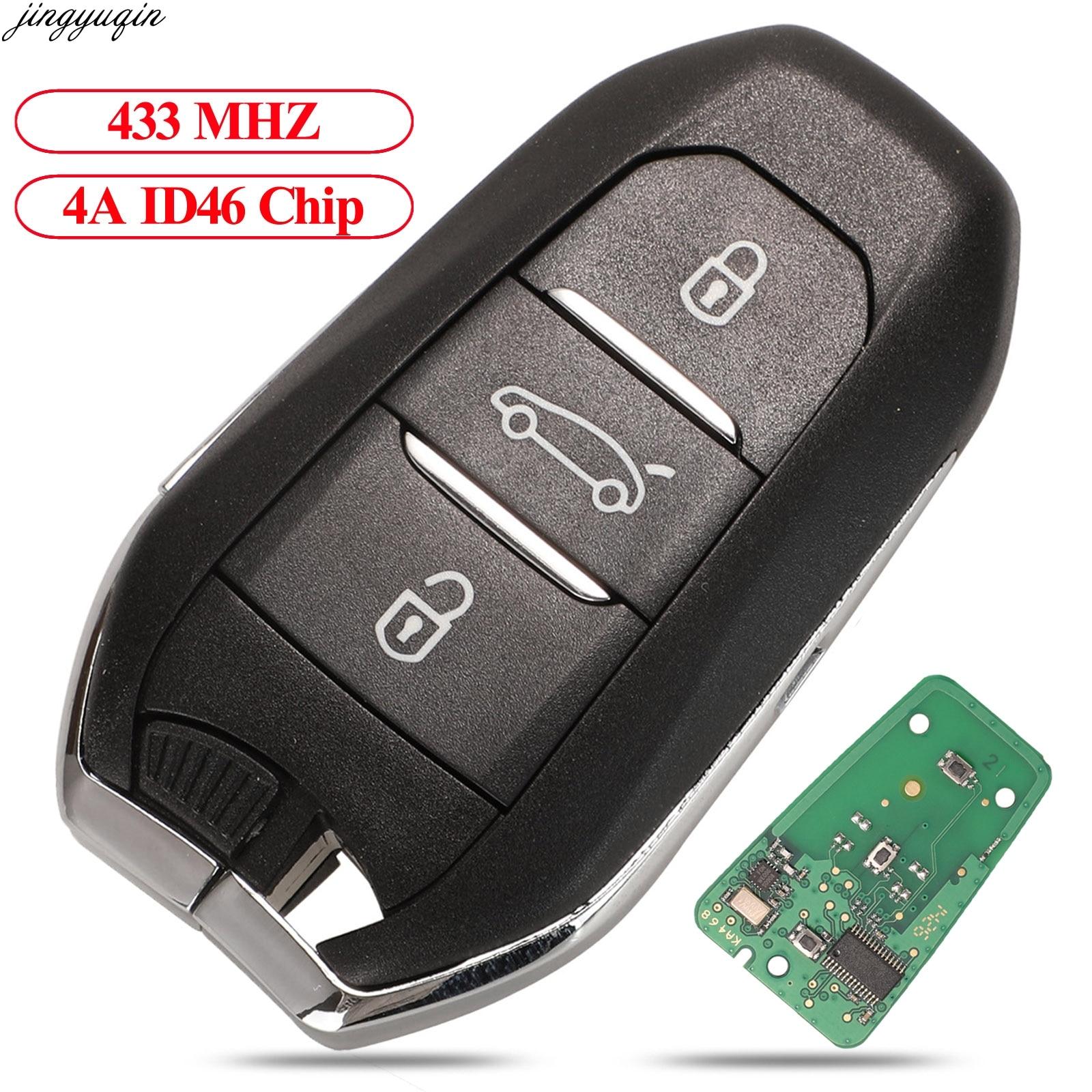 Jingyuqin Автозапуск-Go ключи 433 МГц 4A ID46 PCF7945 чип для Citroen C4 C4L DS4 DS5 Peugeot 308 408 508 5008 3B HU83/VA2