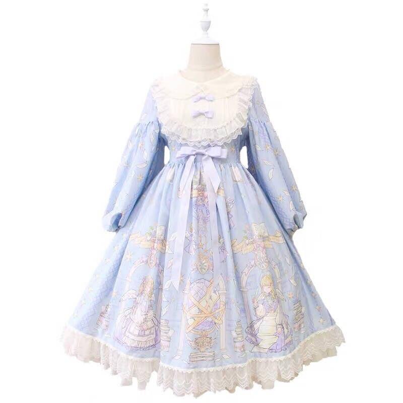 Classic Lolita Dress Women's Kawaii retro Princess Missy Cosplay Costume Cotton op Dress for Girl