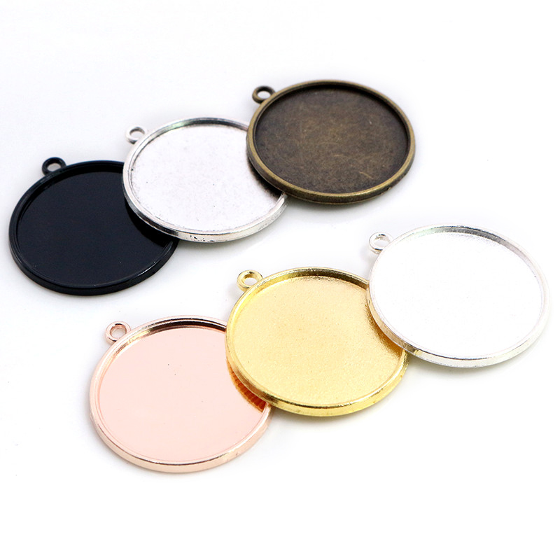 New Fashion 10pcs 25mm Inner Size Antique Silver Color Bronze Rose Gold Colors Simple Cabochon Base Setting Pendant