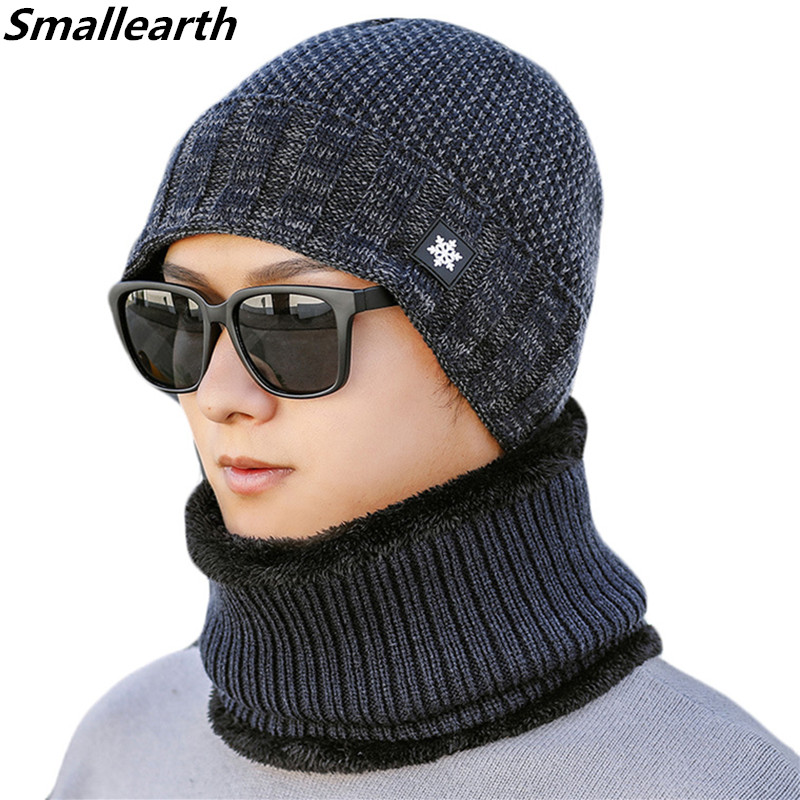 New Winter Knitted Hat Scarf Set Men Warm Plush Cap Scarves Male Winter Outdoor Thick Accessories Hats Scarf 2 Pieces Sets