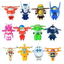 12 unids/set superalas Mini aviones de juguetes deformación Robots de avión Donnie mareado Mira Jett Paul Grand Albert figuras de acción Juguetes