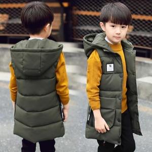 Image 3 - Baby boys waistcoat 2 13T kids long style warm vest baby girls spring cotton padded hooded children warm jacket teenage snowsuit