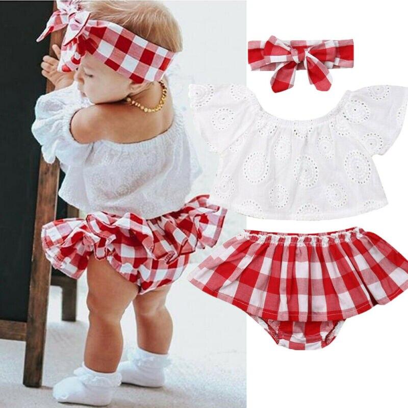 New 3Pcs Set Newborn Baby Girl Off Shoulder Tops Short Dress Headband Outfits