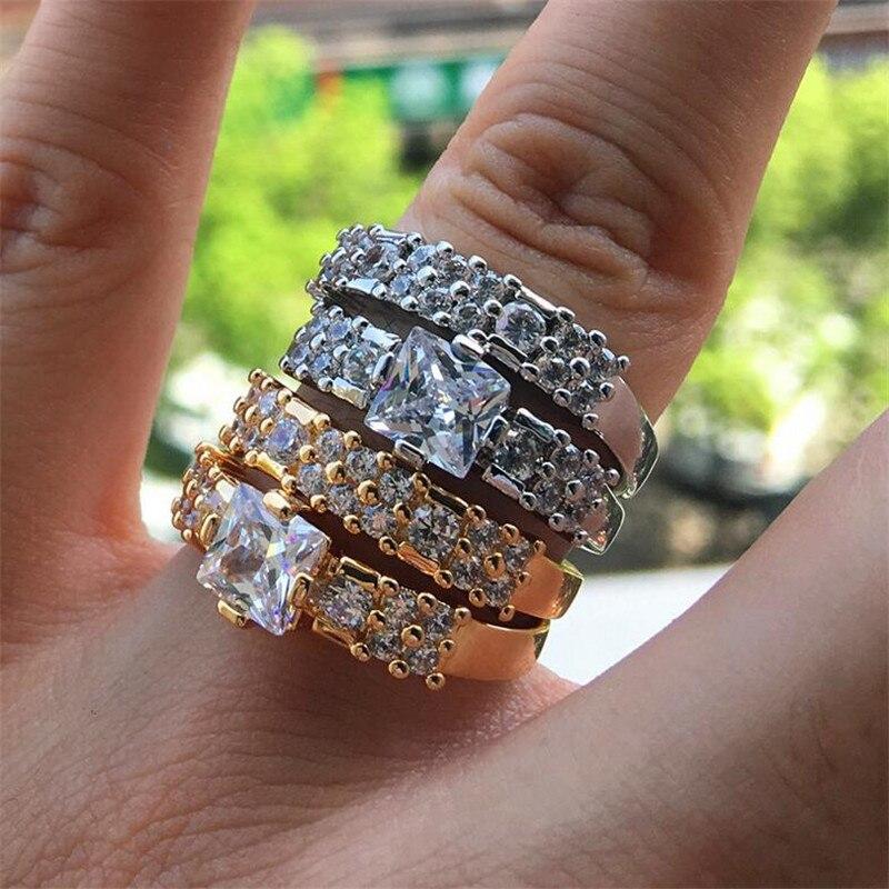 Vente chaude bague nuptiale pour amoureux bijoux de luxe 925 en argent Sterling et or remplir PrincessC