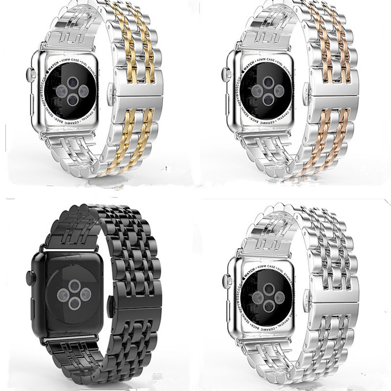 Suitable For APPLE Watch Watch Strap Apple Watch IWatch/2/3/4-Stainless Steel Seven Beads Watch Strap