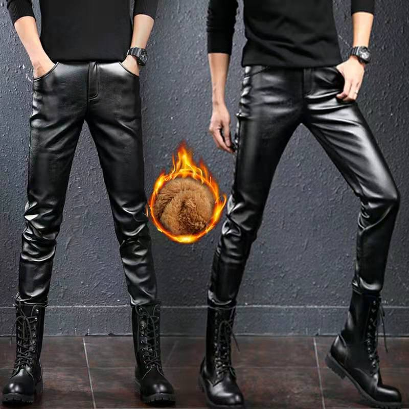 Men`s Faux Leather Pants Stretchy Black Slim Fit Motorcycle Business Casual Velvet Lined PU Leather Trousers For Male