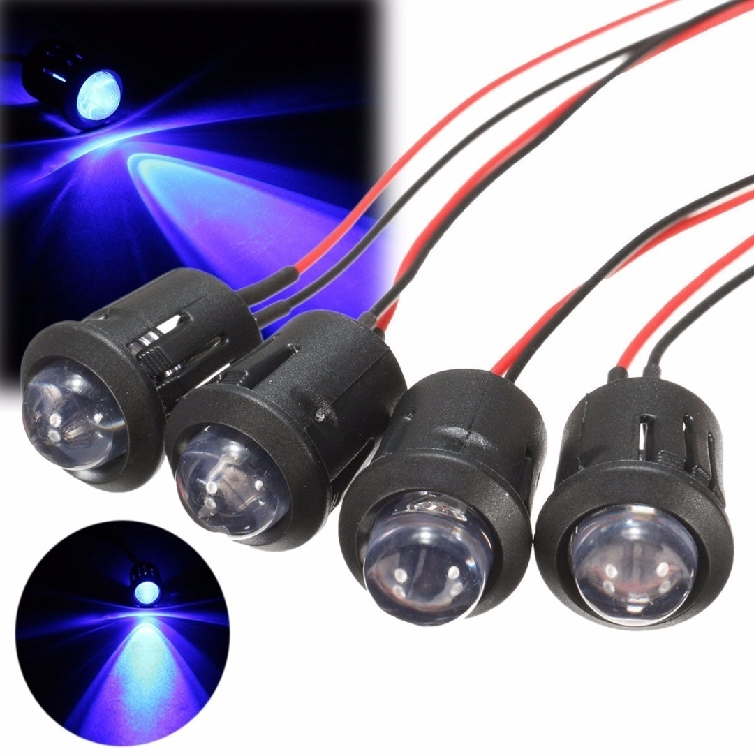 5PC 12V 10mm Waterproof Pre-Wired Constant LED Ultra Bright Water Transparent Bulb Indicator Signals Light Red/Yellow/Blue/White